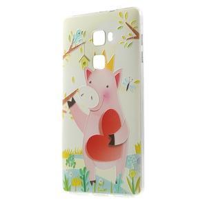 Softy gelový obal na mobil Huawei Mate S - zamilované prasátko - 1