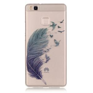 Průhledný gelový obal na mobil Huawei P9 Lite - peříčko - 1