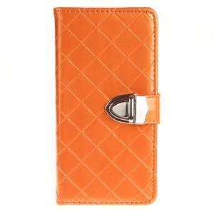 Luxury PU kožené peňaženkové puzdro na Huawei P9 Lite - oranžové - 1