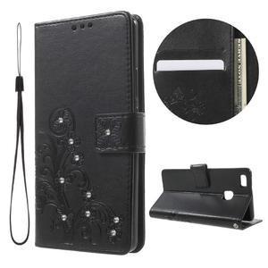 Cloverleaf penženkové puzdro s kamínky na Huawei P9 Lite - čierne - 1