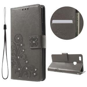 Cloverleaf penženkové pouzdro s kamínky na Huawei P9 Lite - šedé - 1