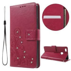 Cloverleaf penženkové pouzdro s kamínky na Huawei P9 Lite - rose - 1
