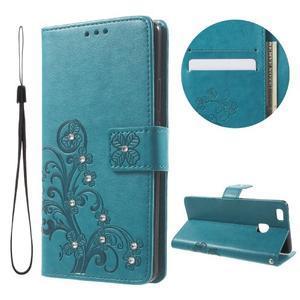 Cloverleaf penženkové pouzdro s kamínky na Huawei P9 Lite - modré - 1