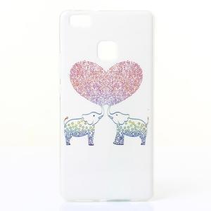 Jelly gelový obal na telefon Huawei P9 Lite - zamilovaní sloni - 1