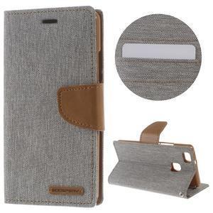 Canvas PU kožené/textilní pouzdro na Huawei P9 Lite - šedé - 1