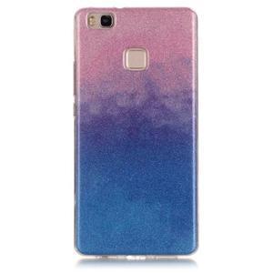 Gradient třpitivý gelový obal na Huawei P9 Lite - růžový/modrý - 1