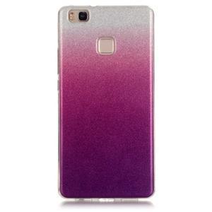 Gradient třpitivý gelový obal na Huawei P9 Lite - stříbrný/fialový - 1