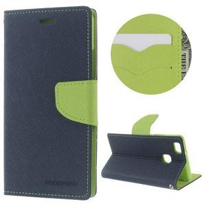 Diary PU kožené pouzdro na telefon Huawei P9 Lite - tmavěmodré - 1
