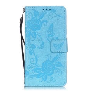 Kvetinové motýle peňaženkové puzdro na Huawei P9 Lite - svetlomodré - 1