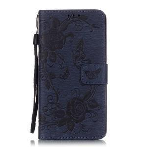 Kvetinové motýle peňaženkové puzdro na Huawei P9 Lite - tmavomodré - 1