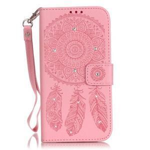 Dream PU kožené pouzdro s kamínky na Huawei P9 Lite - růžové - 1
