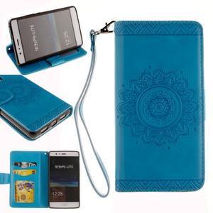 Mandala PU kožené pouzdro na Huawei P9 Lite - modré - 1