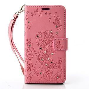 Víla PU kožené pouzdro s kamínky na Huawei P9 Lite - růžové - 1