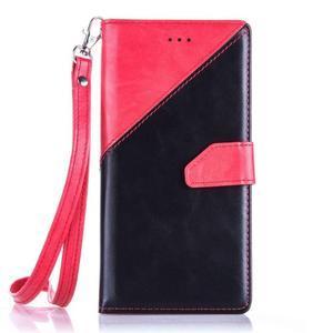 Duocolory PU kožené pouzdro na Huawei P9 Lite - červené/černé - 1