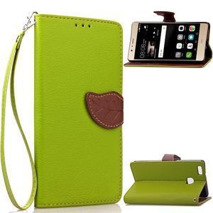 Leaf PU kožené pouzdro na Huawei P9 Lite - zelené - 1