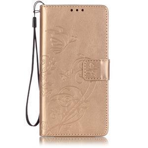 Magicfly knížkové pouzdro na telefon Huawei P9 Lite - zlaté - 1