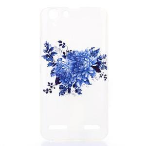 Softy gélový obal pre mobil Lenovo Vibe K5 / K5 Plus - modré kvetiny - 1