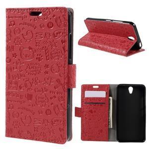 Cartoo peňaženkové puzdro pre Lenovo Vibe S1 - červené - 1