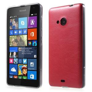 Ultra tenký kožený kryt pre Microsoft Lumia 535 - červený - 1