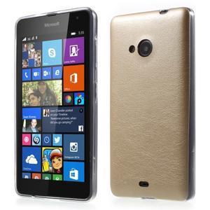 Ultra tenký kožený kryt na Microsoft Lumia 535 - champagne - 1
