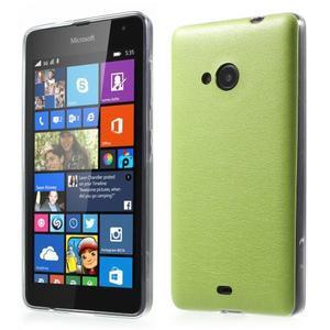 Ultra tenký kožený kryt na Microsoft Lumia 535 - zelený - 1