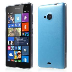 Ultra tenký kryt s koženkovým zadným dielom na Microsoft Lumia 535 - modrý - 1