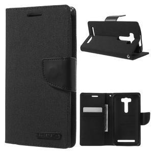 Canvas textilní/PU kožené puzdro na Asus Zenfone 2 Laser - čierné - 1