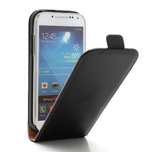 Černé flipové pouzdro mobil na Samsung Galaxy IV mini - 1