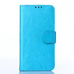 Koženkové puzdro na mobil Huawei Ascend P8 - modré - 1