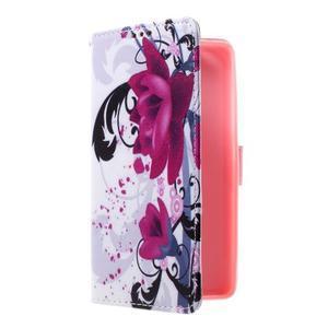 Cross peňaženkové puzdro pre Huawei Honor 7 - fialové kvety - 1