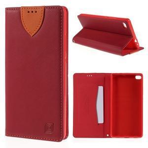 Style peňaženkové puzdro na Huawei Ascend P8 - červené - 1
