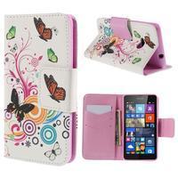 Peňaženkové puzdro pre Microsoft Lumia 535 - motýlci - 1/7
