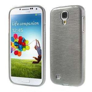 Gélový kryt s brúseným vzorem pre Samsung Galaxy S4 - šedý - 1
