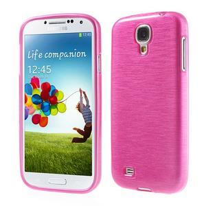 Gélový kryt s brúseným vzorem pre Samsung Galaxy S4 - rose - 1