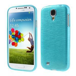 Gélový kryt s brúseným vzorem pre Samsung Galaxy S4 - modrý - 1