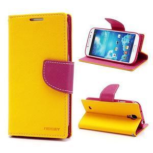Fancy peňaženkové puzdro pre Samsung Galaxy S4 - žlté - 1