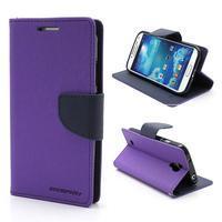 Fancy peňaženkové puzdro pre Samsung Galaxy S4 -  fialové - 1/7