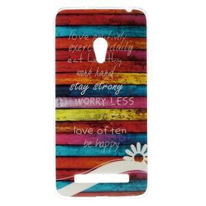 Gélový obal na mobil Asus Zenfone 5 - farby dřeva - 1