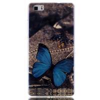Blu-ray magic gelový obal na Huawei Ascend P8 Lite - modrý motýl - 1/3
