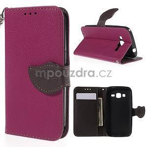 Rose/hnedé peňaženkové puzdro pre Samsung Galaxy Core Prime - 1