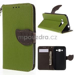 Zelené/hnedé peňaženkové puzdro pre Samsung Galaxy Core Prime - 1