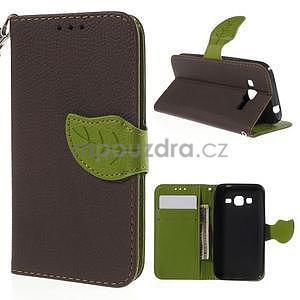 Hnedé/zelené peňaženkové puzdro pre Samsung Galaxy Core Prime - 1