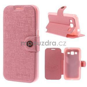 Zapínací peňaženkové puzdro pre Samsung Galaxy Core Prime - ružové - 1