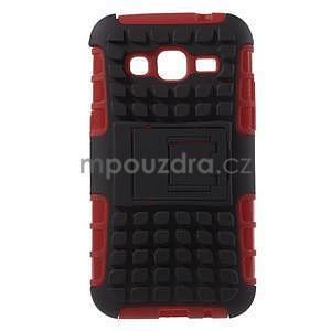 Extrémne odolný obal so stojanom pre Samsung Galaxy Core Prime - červený - 1