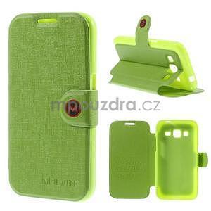 Zapínací peňaženkové puzdro pre Samsung Galaxy Core Prime - zelené - 1