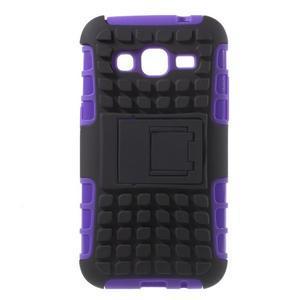 Extrémne odolný obal so stojanom pre Samsung Galaxy Core Prime - fialový - 1
