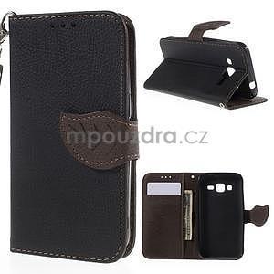 Černé/hnedé peňaženkové puzdro pre Samsung Galaxy Core Prime - 1