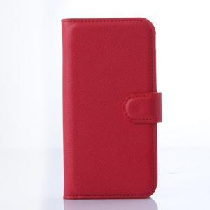 Kožené peňaženkové puzdro na Samsung Galaxy E5 - červené - 1
