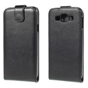 Kožené flipové puzdro Samsung Galaxy E5 - čierné - 1