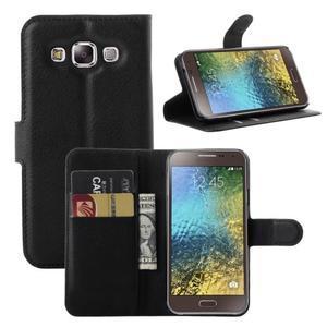 Kožené peňaženkové puzdro na Samsung Galaxy E5 - čierné - 1